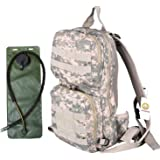 WASING Hydration Pack with 3L Bladder and 2 Additional Pockets. Tough Military Style Backpack Is Perfect for Hiking, Biking, Running, Walking and More.