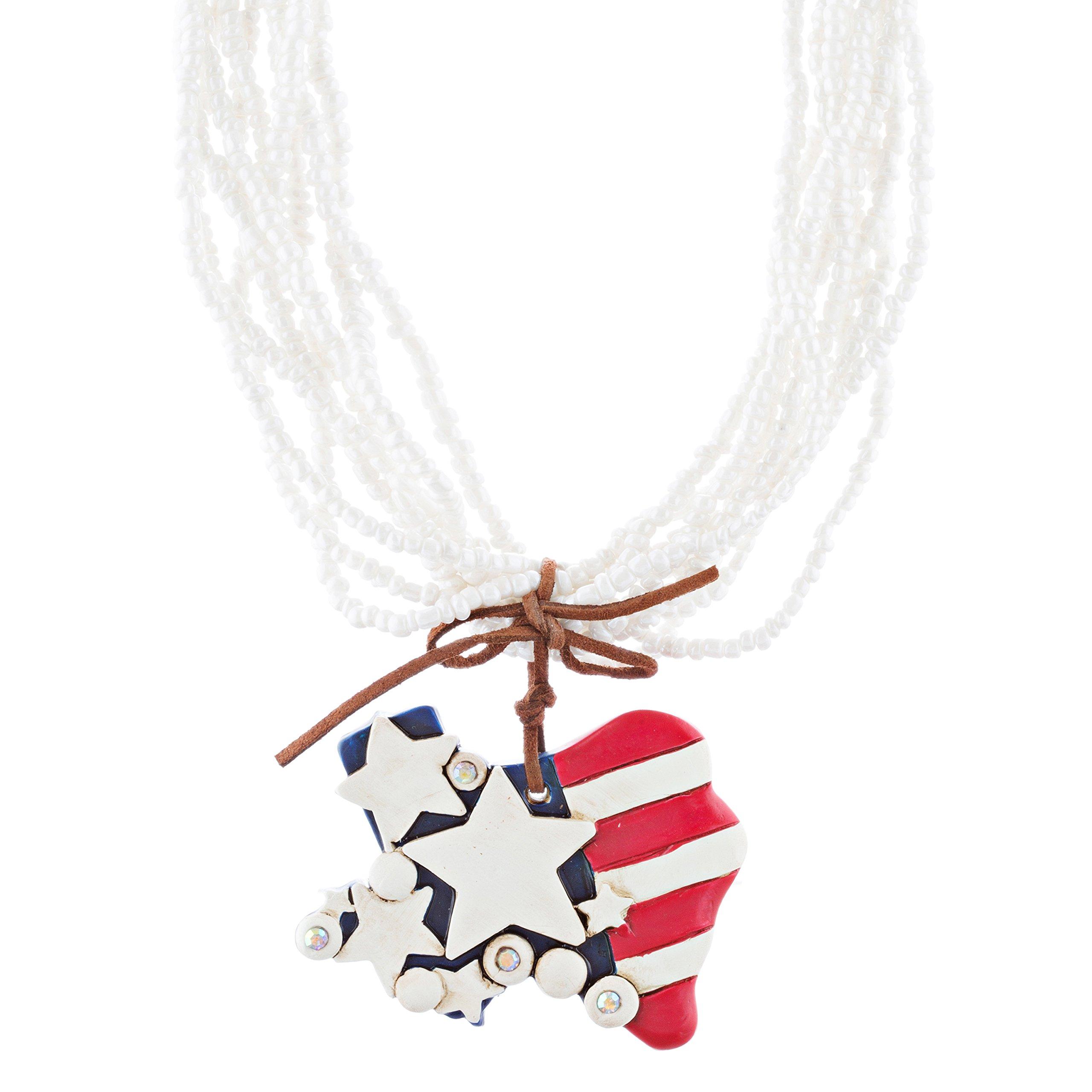 ACCESSORIESFOREVER Women Patriotic Jewelry Multi Strands Crystal Rhinestone Heart Star Necklace JN267 WT