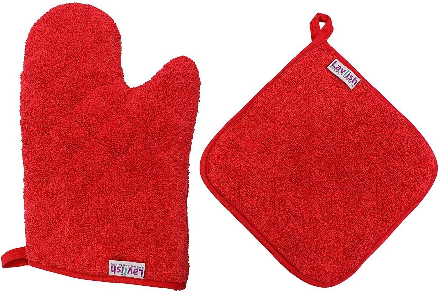 Lavlish Oven Mitt & Pot Holder Set 100% Cotton, Red