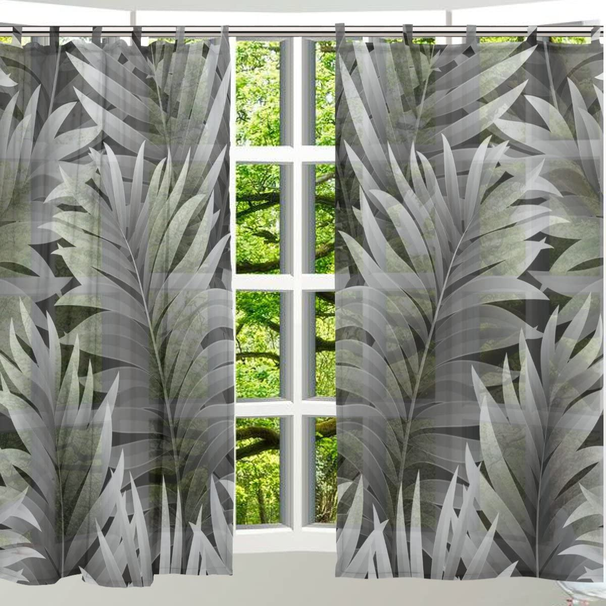 ALAZA 2PCS Window Decoration Sheer Curtain Panels,Tropical Vacation Green Swaying Palms,Window Gauze Curtains Living Room Bedroom Kid s Office Window Tie Top Curtain 55×78 inch Two Panels Set