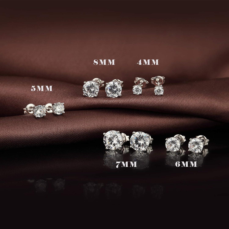 jiamiaoi Clous doreilles 4mm-8mm AAAAA Boucles doreilles en argent 925 pour femmes Zircon Boucles doreilles en diamant Boucles doreilles en argent pour femmes//hommes