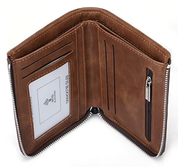 a4a6220976c8 Onstro RFID Blocking Zipper Wallet for Men with Coin Pocket ID Window Bfold  Wallet