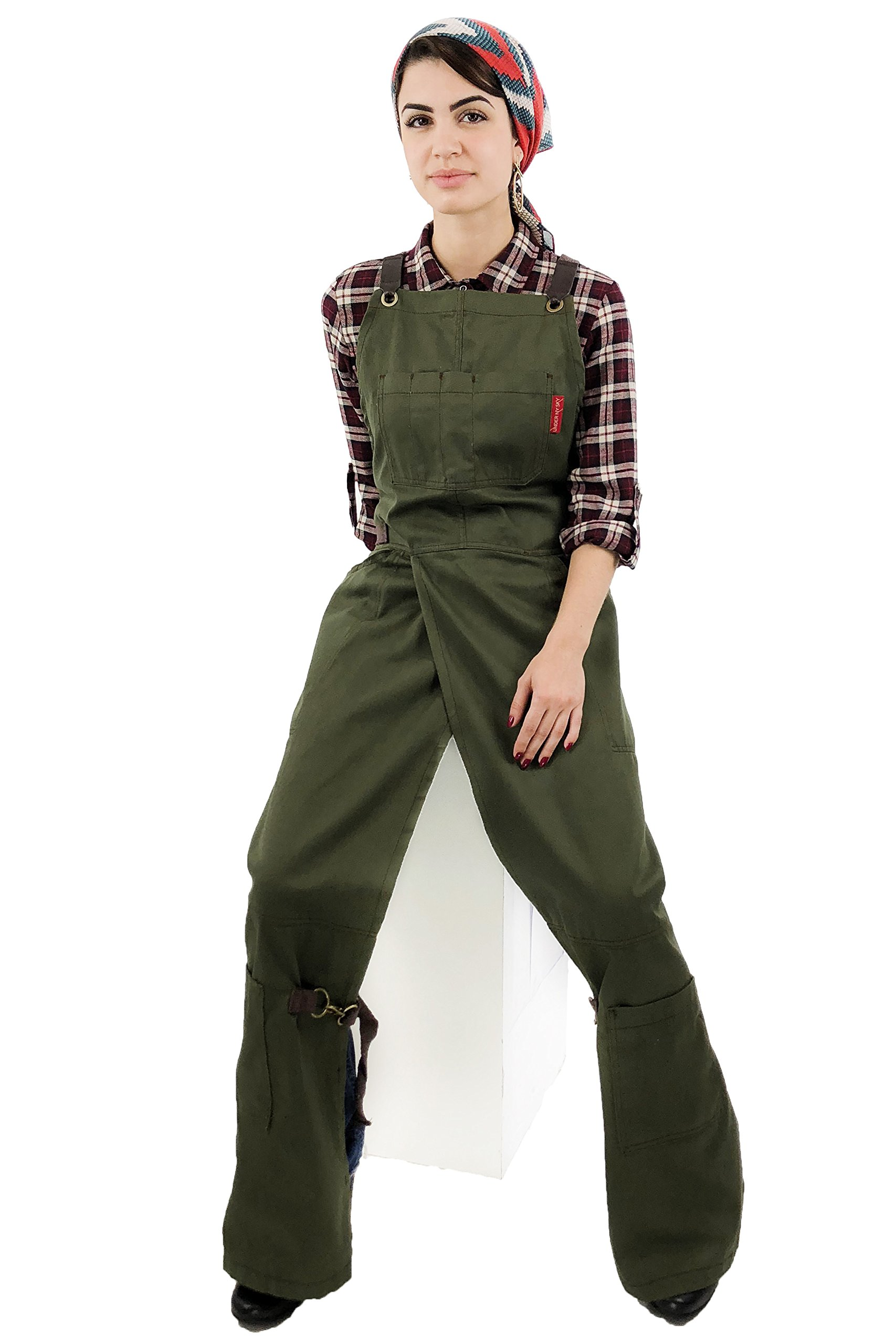 Under NY Sky Pottery Moss Green Apron - Full Coverage Cross-Back, Durable Twill, Leather Reinforcement and Overlapping Split-Leg, Adjustable for Men and Women - Pottery Artist, Mechanic, Tattoo Apron