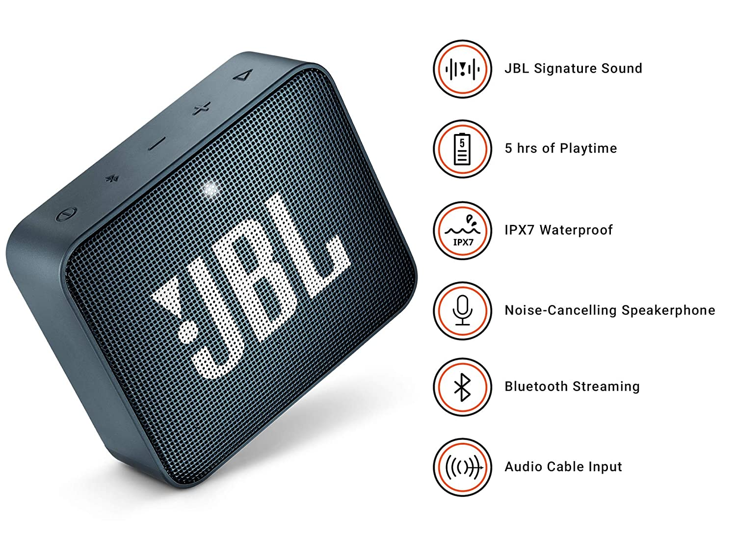 jbl Go 2 Portable Bluetooth Waterproof Speaker Navy