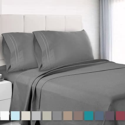 Premium King Sheets Set   Grey Charcoal (Gray) Hotel Luxury 4 Piece Bed