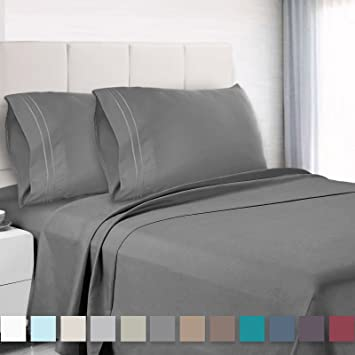 Premium Cal King Sheets Set Grey Charcoal Grayel Luxury 4 Piece