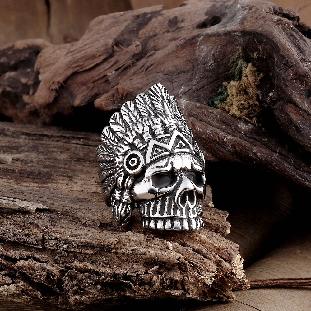 BLOOMCHARM Skull Rings for Men Boys Jewelry Punk Head Stainless Steel Bands Gifts Presents by BLOOMCHARM (Image #7)