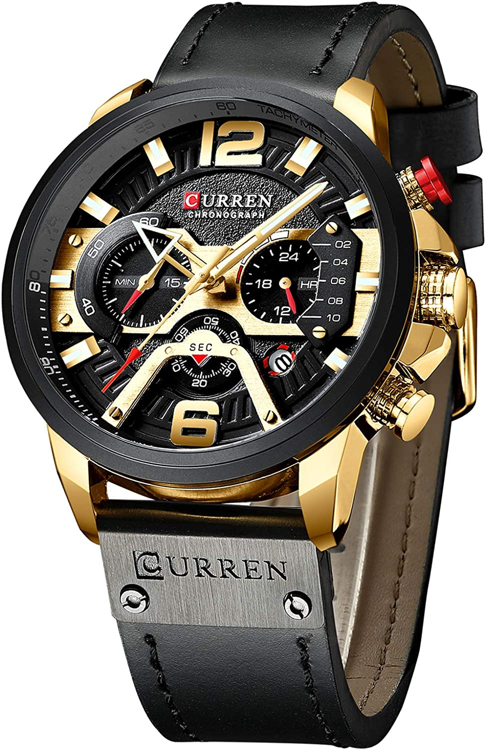 Luxury Men s Gold-Tone Watch Analog Quartz Military Waterproof Wrist Watches for Men Leather Band 24 Hours Chronograph Black