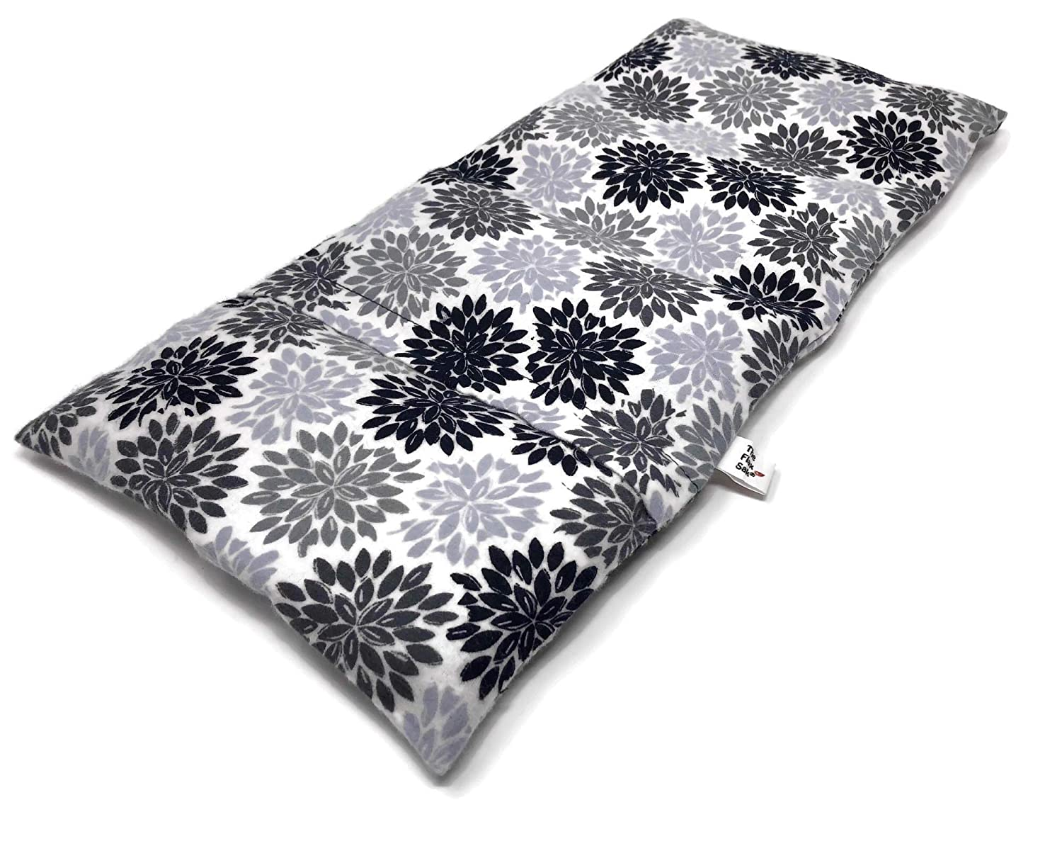 Microwavable Heating Pad | Muscle Pain Relief | Moist Heat | Cold Compress with Washable Cover | Lavender Scented | Handmade in the U.S.A. | Black and Grey Flower