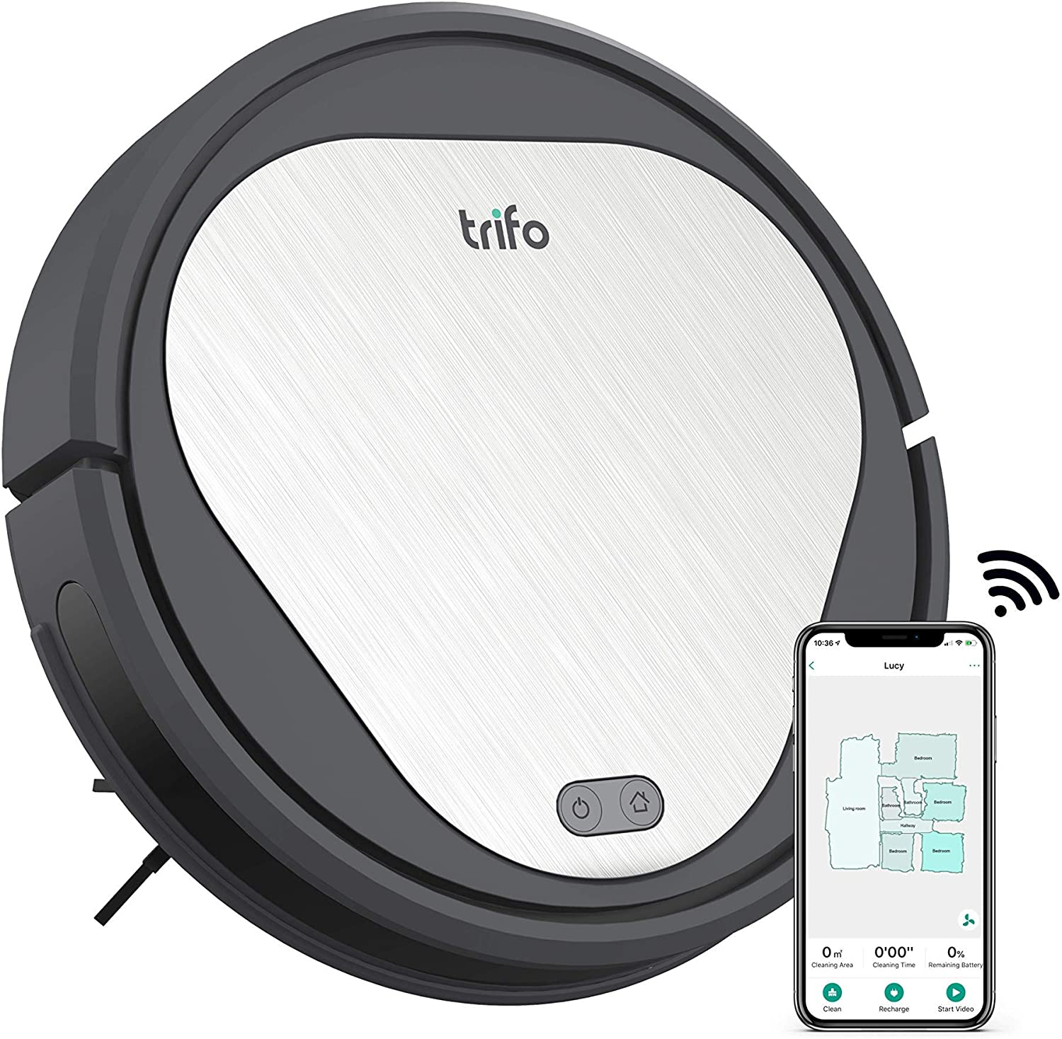 Trifo Emma Essential Robot Vacuum Cleaner, 110-Minute Runtime, Wi-Fi Connectivity, Works with Alexa, Good for Pet Hair, Carpets, Hard Floors, Self-Charging… (3000 Pa)