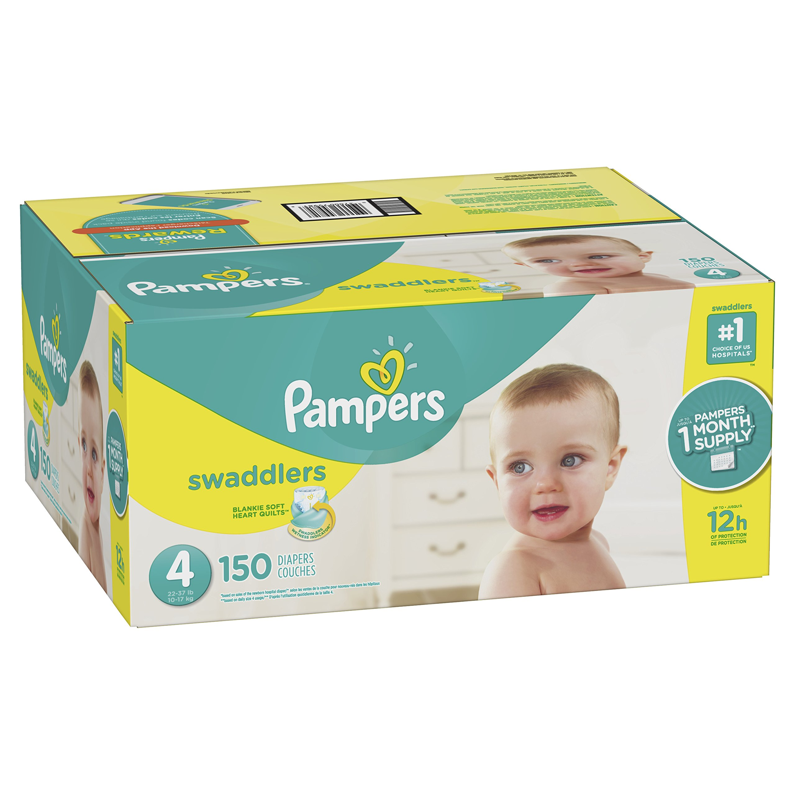 Pampers Swaddlers Disposable Diapers Size 4, 150 Count, ONE MONTH SUPPLY