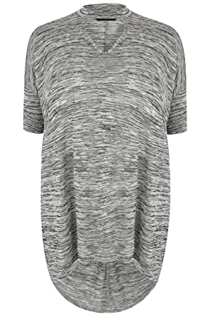 f968b19cd22 YoursClothing Plus Size Womens Space Dye Choker Neck Jersey Top With  Extreme Dip Back Hem Size