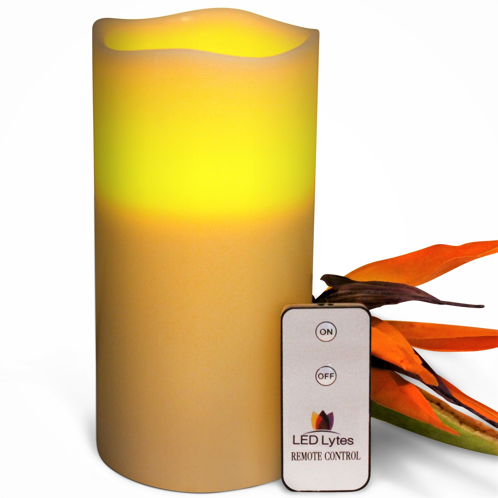 LED Lytes Flameless Candle Flickering - ONE Amber Yellow Pillar Battery Operated with Remote for Parties Weddings and Decorations