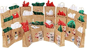 MOMONI 28 Piece Medium Christmas Gift Bags- Xmas Bags Variety Kraft Gift Bags Bulk Christmas Bags- Good for Xmas Party Favors, Goody Gift Bags, Holiday Party Treat Box and Presents