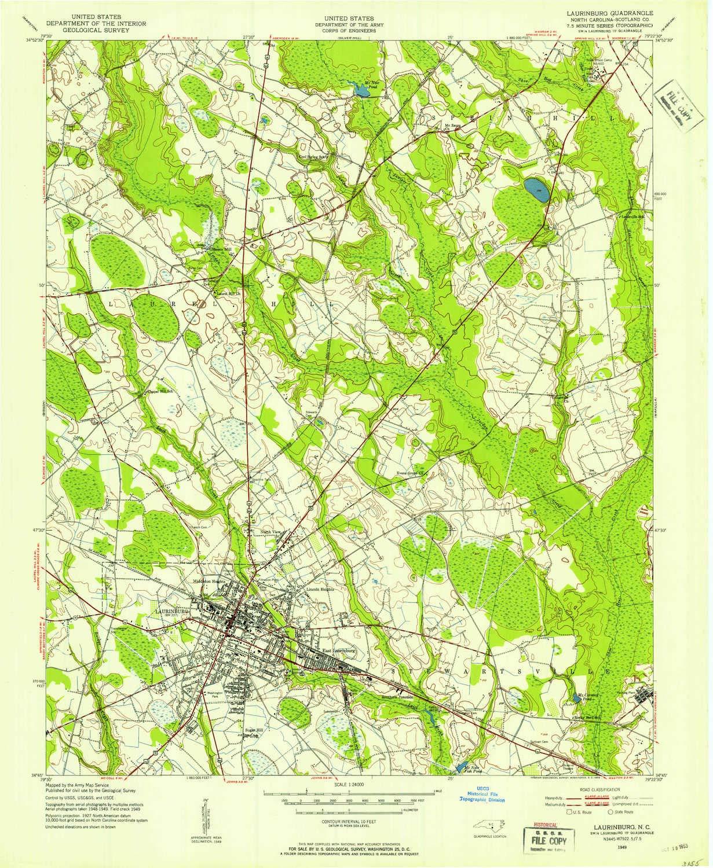 Amazon.com : YellowMaps Laurinburg NC topo map, 1:24000 Scale, 7.5 X ...