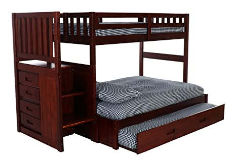 finest selection 4e51d a6412 Discovery World Furniture Mission Twin Over Full Staircase Bed with Twin  Trundle, Merlot