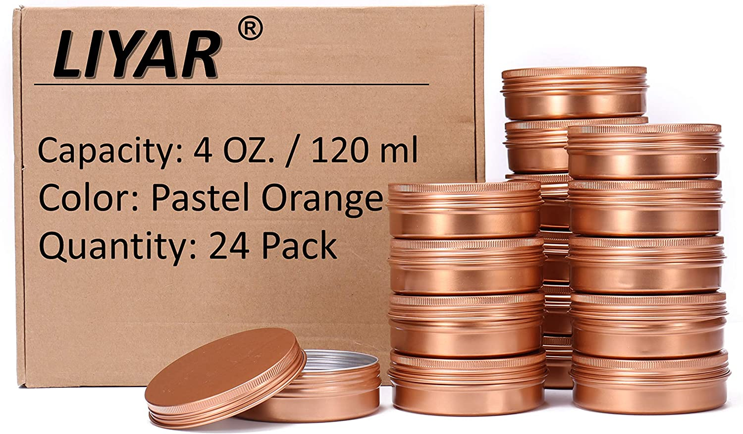 LIYAR 4oz Cans Tin Aluminum Metal Tin 24 Pack Metal Container Jars Aluminum Round Tins with Screw Lids for Salve, Spices or Candies(Pastel Orange)