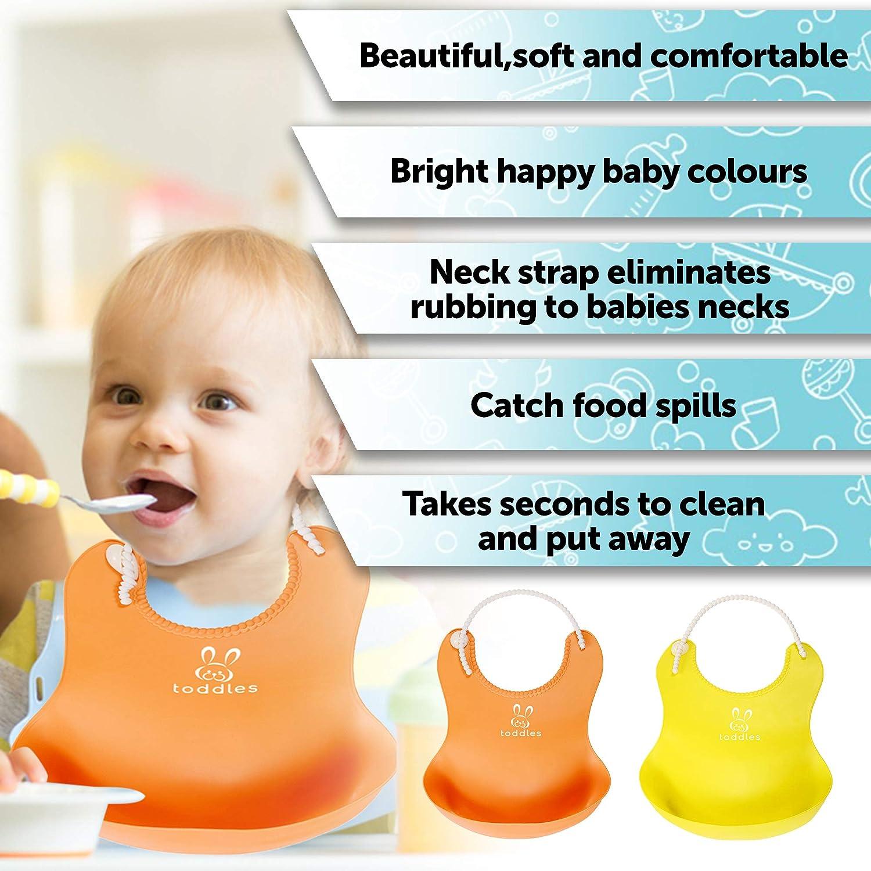 Baberos de silicona impermeable para bebés - baberos unisex de alimentación para bebés y niños pequeños - Amplio bolsillo para recoger comida, toallitas ...