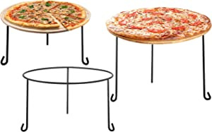 MyGift Metal Wire Round Pizza Pan Risers Racks, Tabletop Serving Stands for Trays and Platters, Set of 3