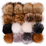 LEKUSHA Fluffy Faux Fur Pom Pom Balls for Hats, 4.7 inches Faux Fox Fur Pom Poms for Hats, Detachable Pompom Fur Balls with Elastic Cord, Great for Crochet Hat Beanie Scarf Shoes Bag Charm 16 Mixed Color