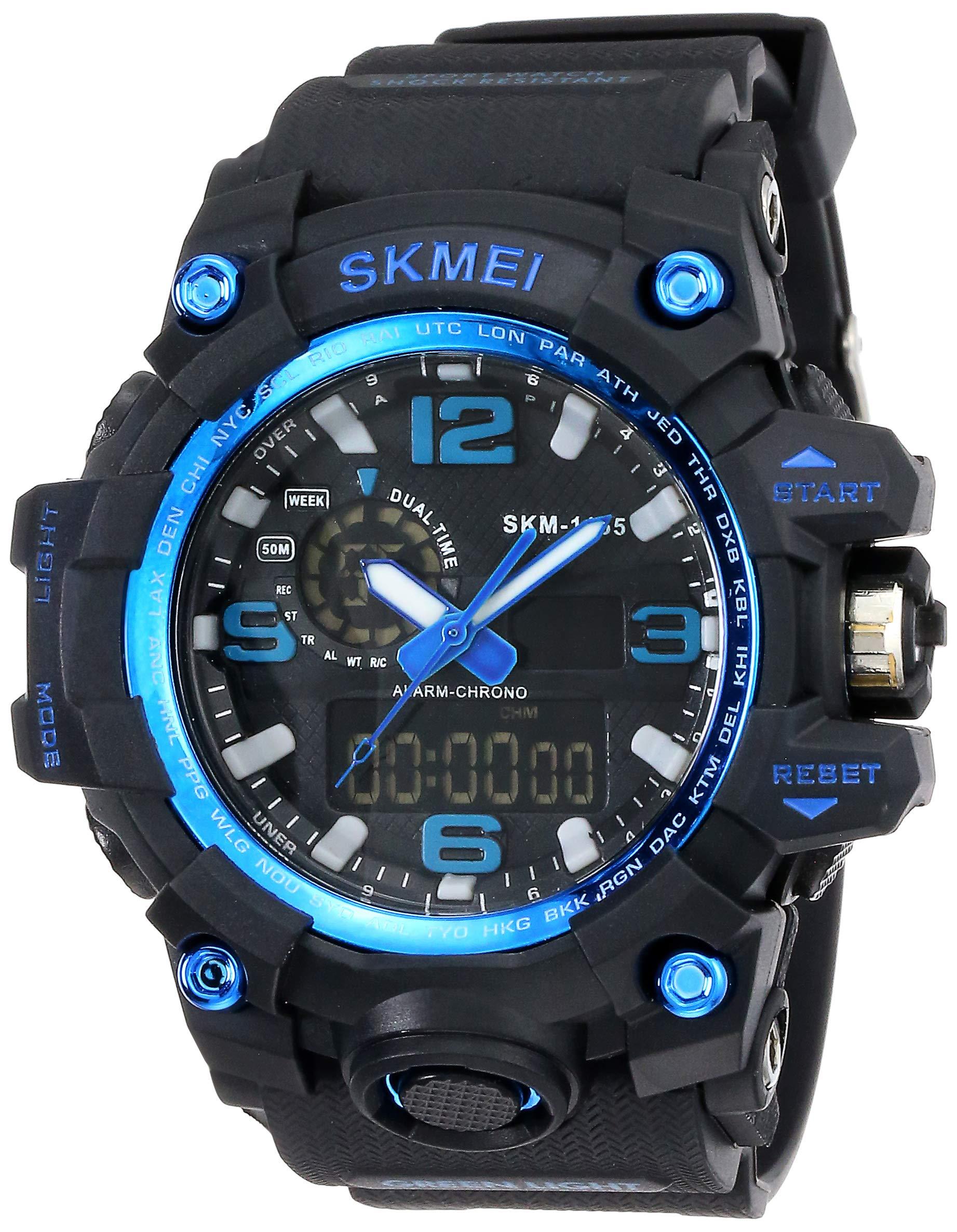 Skmei Analog-Digital Black Dial Men's Watch - 1155-Blue product image