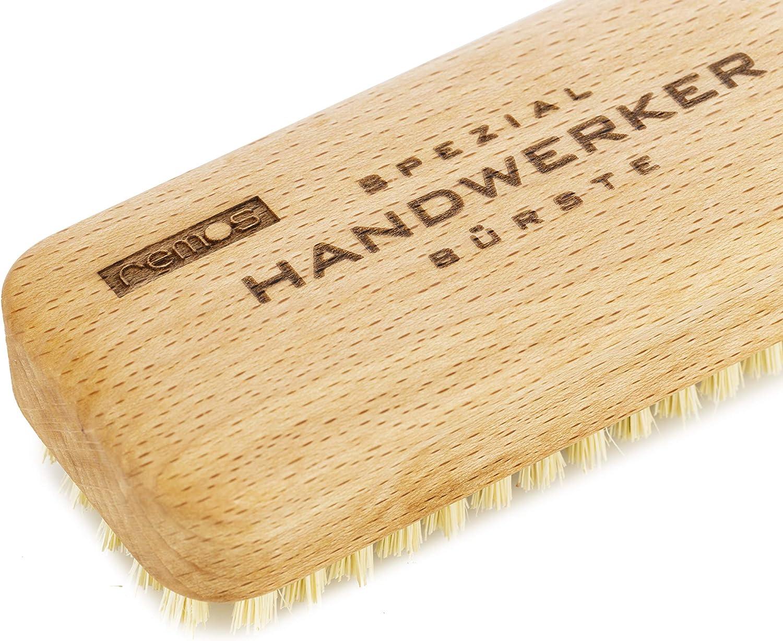 Spazzola a mano per lucidatura con manico di legno setole fibra ottone 5 ranghi
