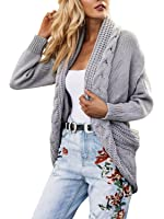 Glamaker Women's Casual Loose Long Sleeve Open Front Knit Cardigan Sweater Outwear