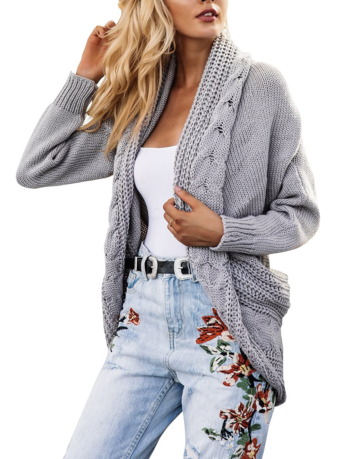 Simplee Women's Casual Loose Oversized Open Front Long Knit ...