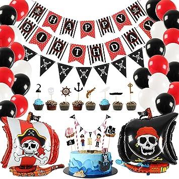Tacobear 46pcs Pirata Decoraciones Cumpleaños Feliz ...