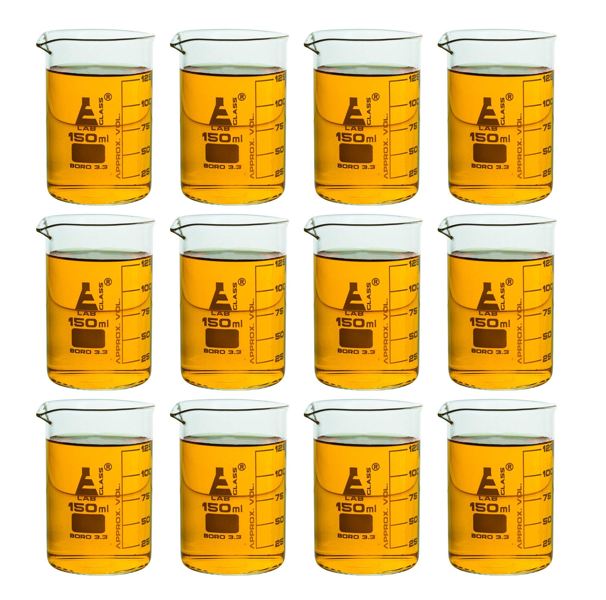 Eisco Labs Beaker - 150mL, Borosilicate Glass, 125mL graduation Low form - Pack of 12