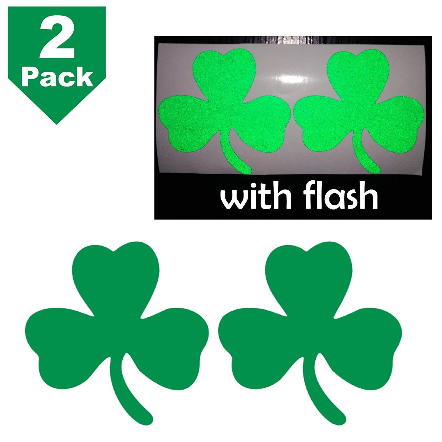 2.5 Clover 3-Leaf Shamrock Lucky Irish Flag Safety Green Reflective Decal Decals Vinyl Sticker High Visibility for Motorcycle Bike Bicycle Car Helmet Tailgate Mobile Phone Laptop Notebook Window