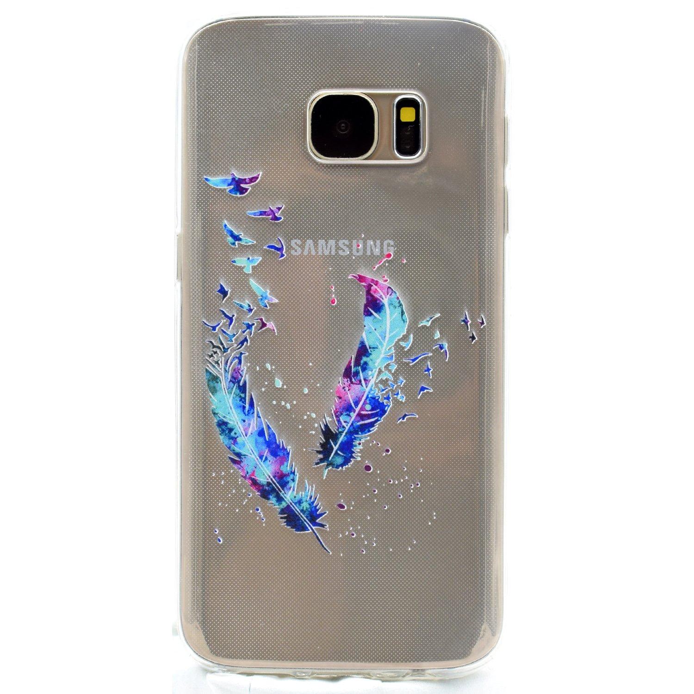 con Disegni Piuma Custodia Protettiva per Samsung Galaxy S7 Edge Crystal TPU Cover Galaxy S7 Edge Silicone Funluna Ultra Sottile Silicone Gel Morbido Cover Antiurto