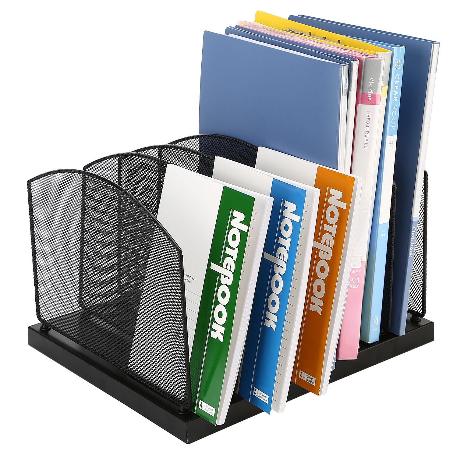CRUODA Mesh Desktop File Folder Organizer with 6 Tiered Sections for Documents, Magazines, Notebooks, Black