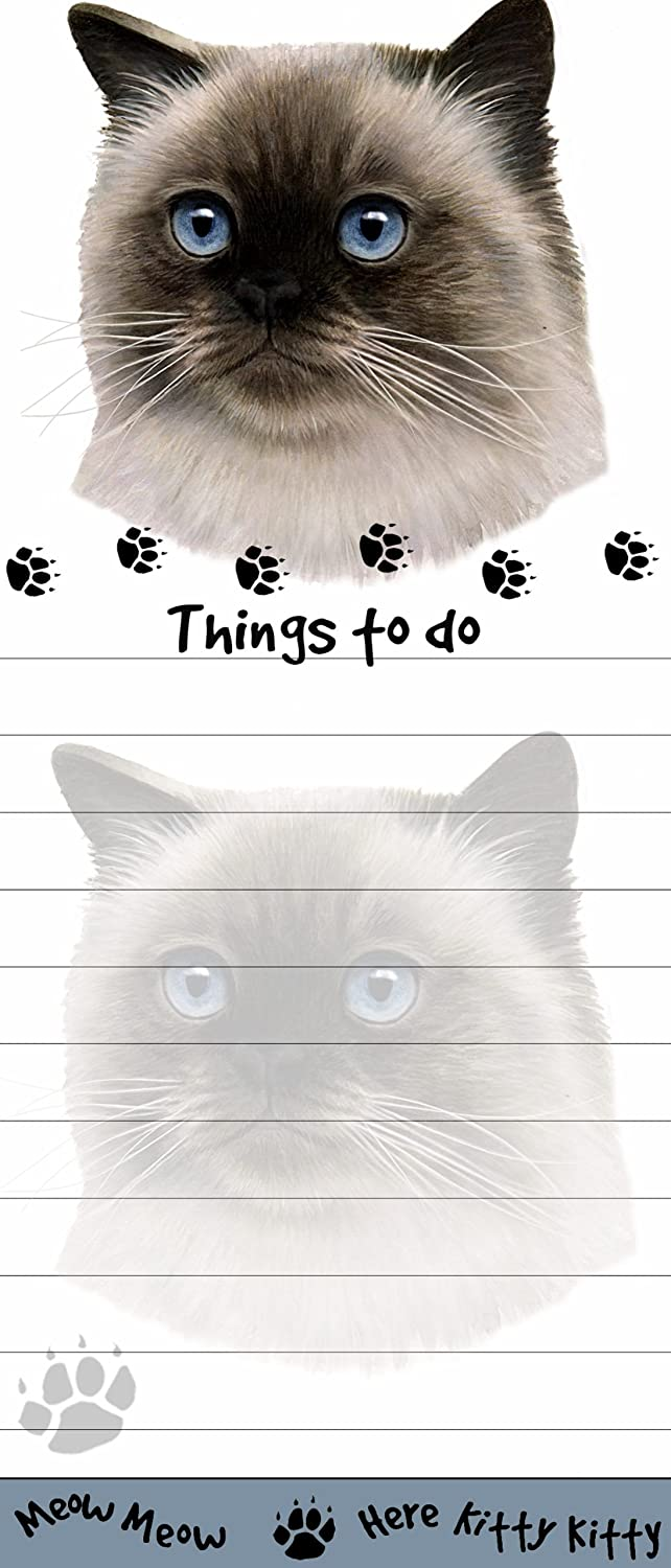 Himalayan Cat Magnetic List Pads Uniquely Shaped Sticky Notepad Measures 8.5 by 3.5 inches