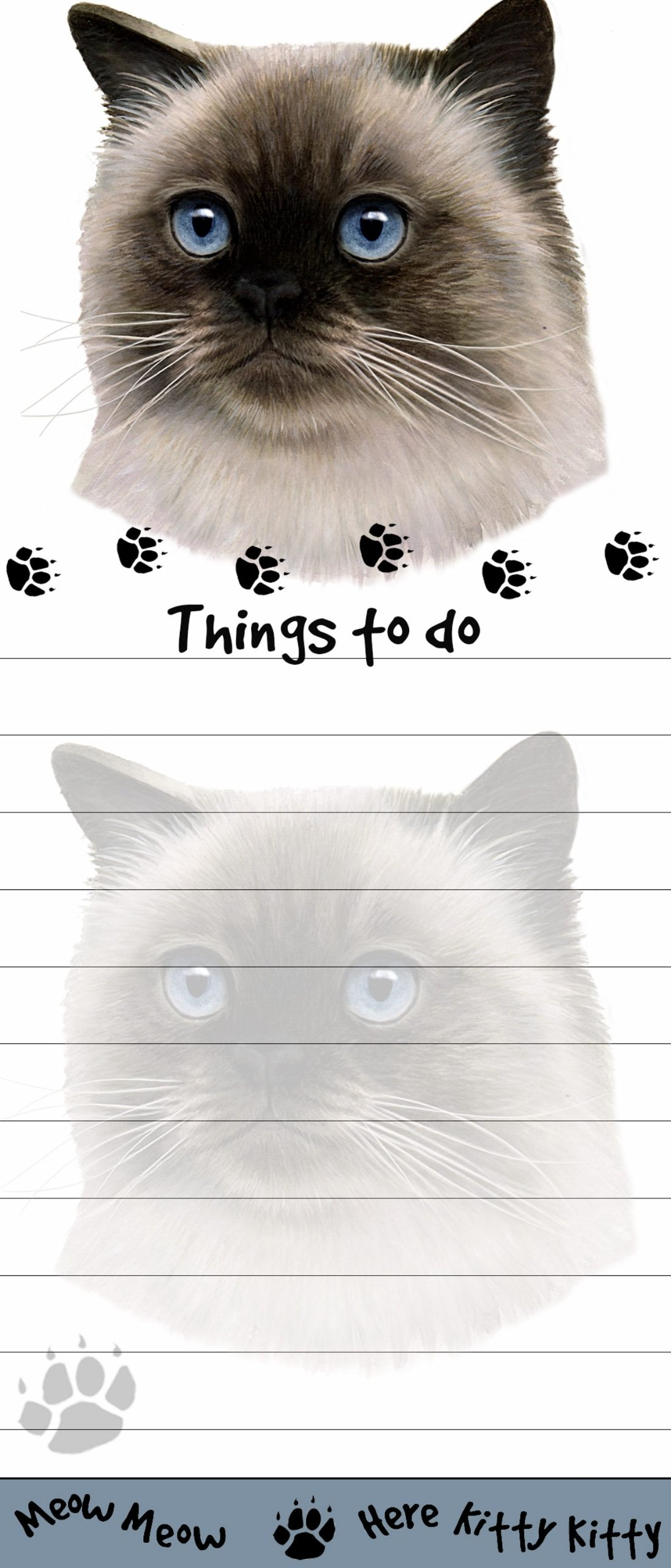 ''Himalayan Cat Magnetic List Pads'' Uniquely Shaped Sticky Notepad Measures 8.5 by 3.5 Inches by E&S Pets (Image #1)