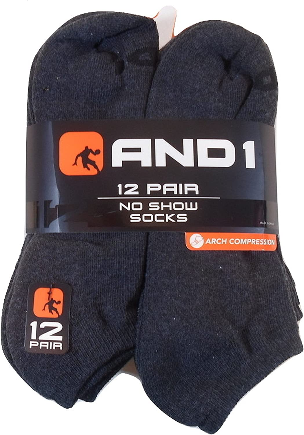 12 PAIRS AND1 Long Crew Socks Shoe Sz 6-12.5  AND 1 Gray Grey Arch Compression