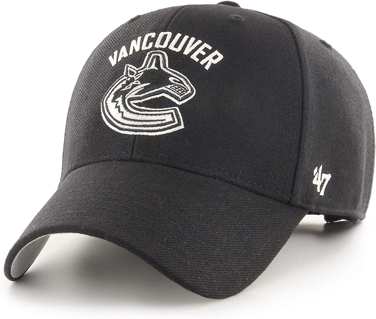 Vancouver Canucks Black with White Team Logo MVP Adjustable Hat Size One Size