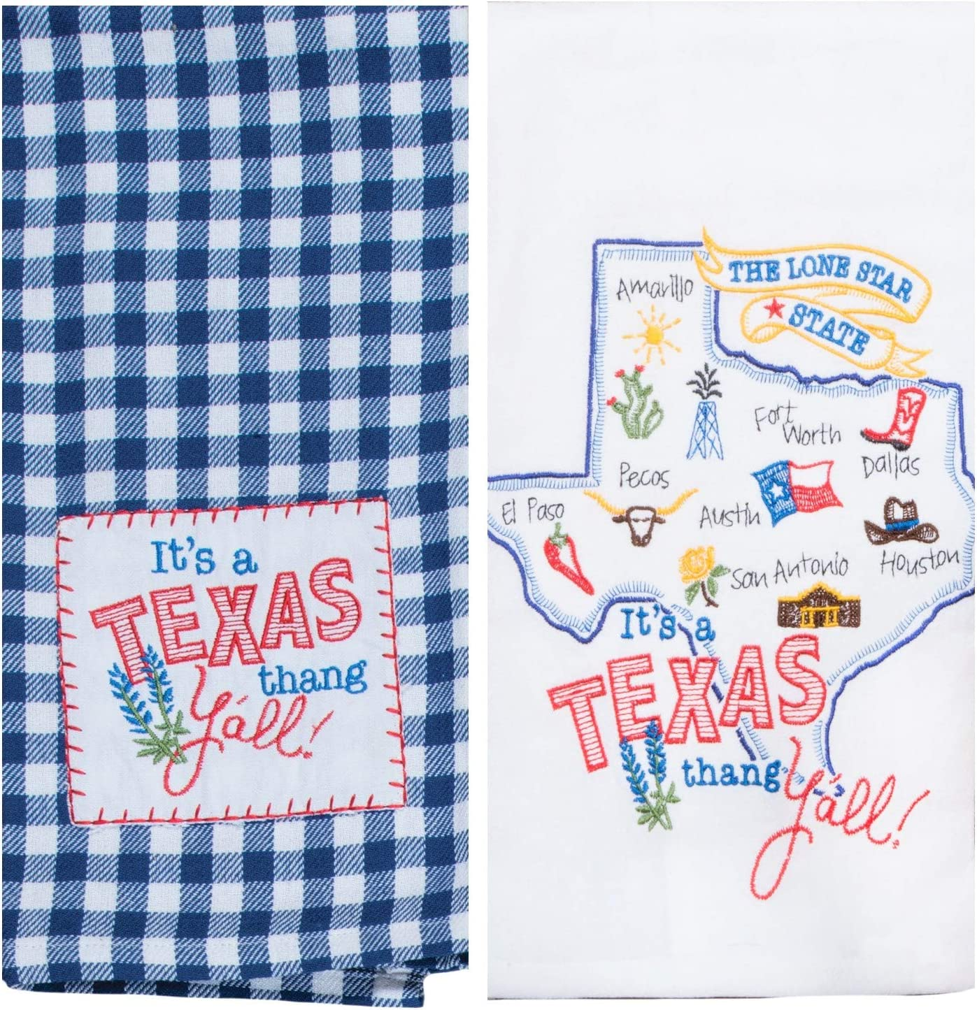 Kay Dee Designs Texas Map Home State & Souvenir Embroidered Dish Towels, Bundle Set of 2 State of Texas Kitchen Towels