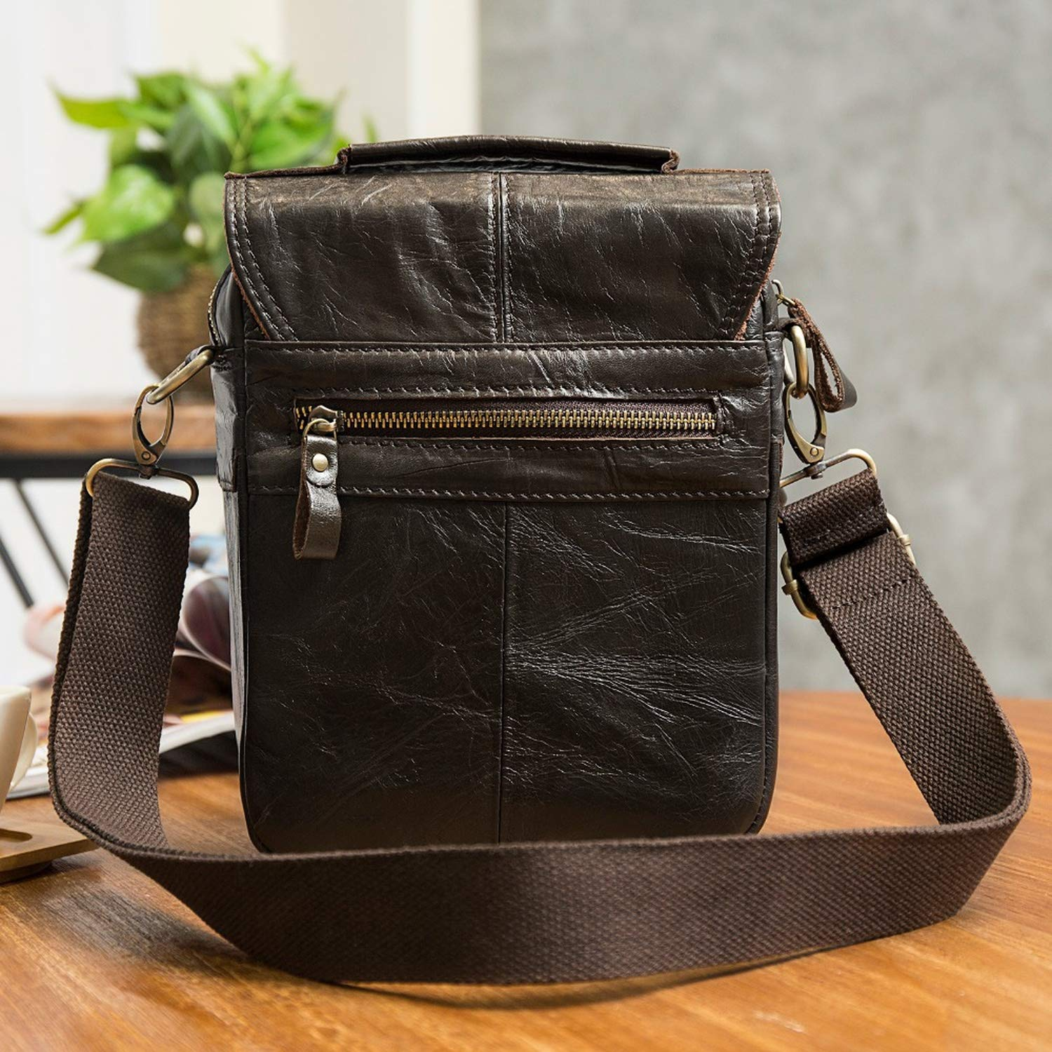 Leather Male Casual Shoulder Messenger bag Cowhide Fashion Cross-body Bag 8 Pad Tote