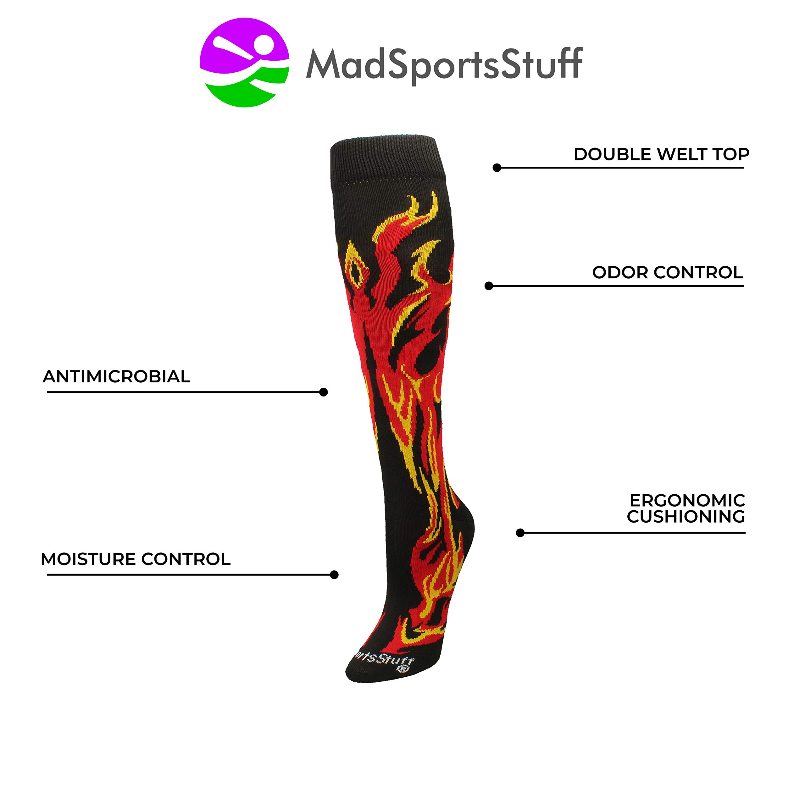 MadSportsStuff Flame Socks Athletic Over The Calf Socks (Black/Red/Gold, Small) by MadSportsStuff (Image #3)