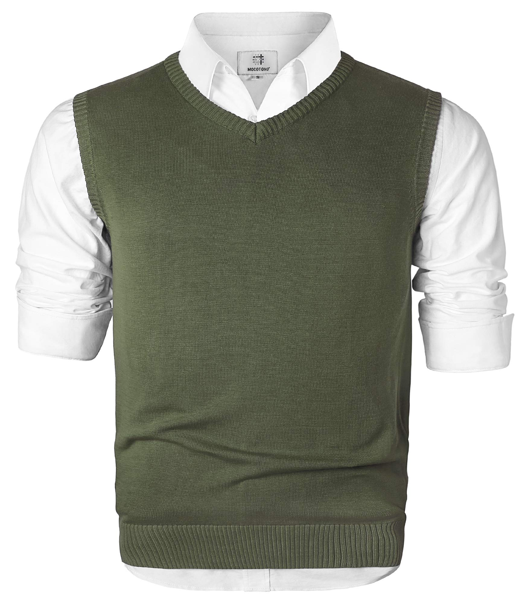 Men's V-Neck Cotton Sleeveless Sweater Casual Vest Green X-Large by MOCOTONO