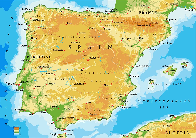 Mapa de España y Portugal con todas las principales ciudades. Disponible con marco., A2: Amazon.es: Hogar