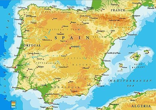 Mapa de España y Portugal con todas las principales ciudades ...
