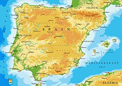 Sonicprint Map Of Spain And Portugal Showing All Major Cities