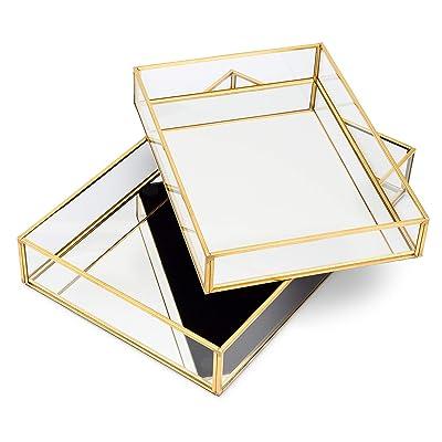 Buy Lumturi 2 Pcs Gold Mirror Tray Decorative Gold Vanity Tray Gold Perfume Tray Dresser Tray Decorative Jewelry Tray Perfume Organizer Makeup Tray For Vanity Bedroom Dresser Online In Indonesia B08cmjpwz9