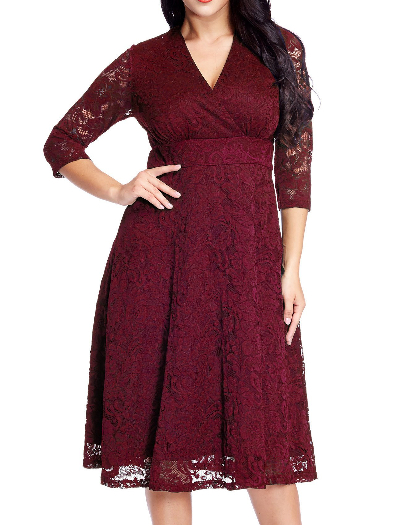 GRAPENT Women's Lace Plus Size Mother Of The Bride Skater Dress Bridal Wedding Party Maroon 26W