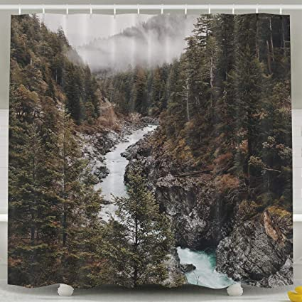 Tomalillin Wild Pine Trees On The Valley With River Shower CurtainCreative Design Bathroom Curtain