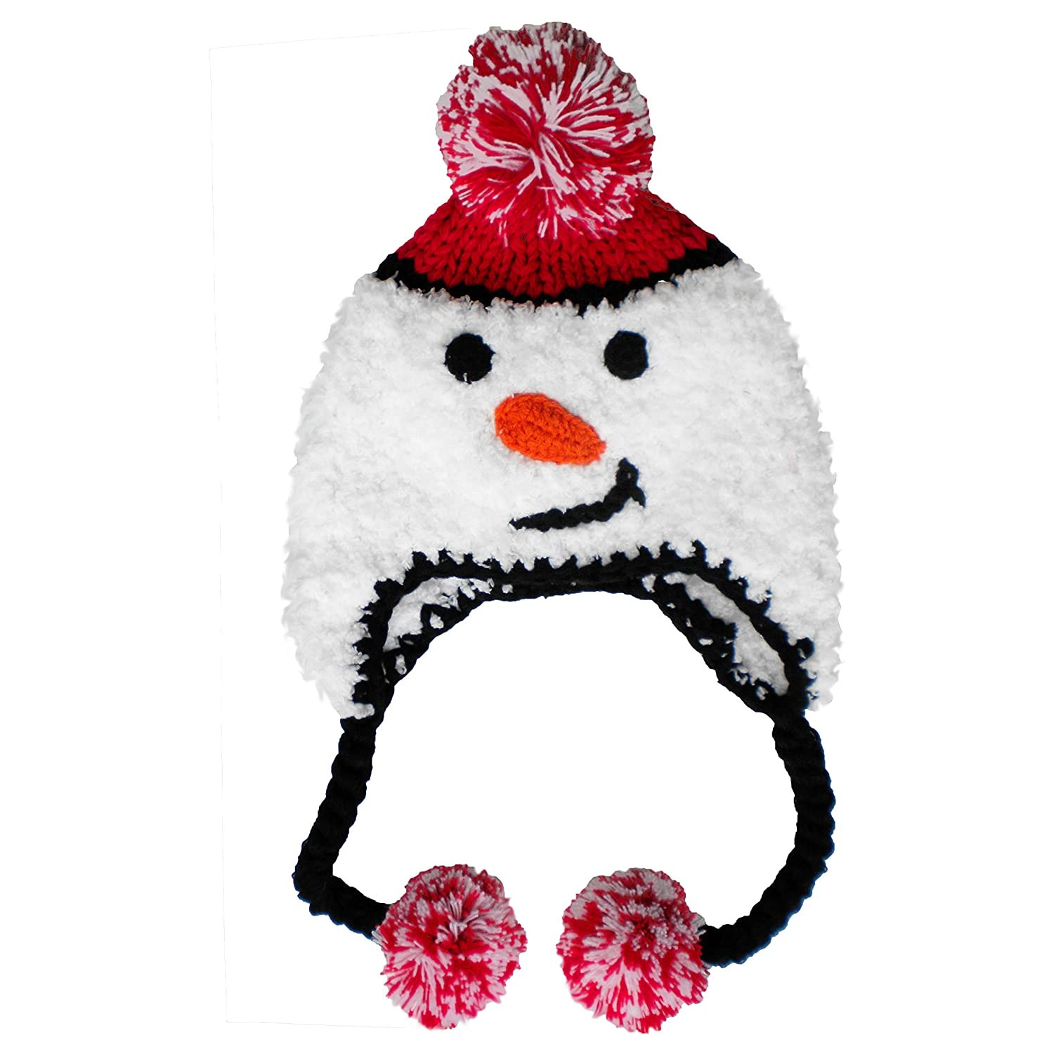 ec0ae59958ea4 Amazon.com  Huggalugs Baby and Toddler Boys or Girls Plush Knit Snowman  Beanie Hat  Clothing