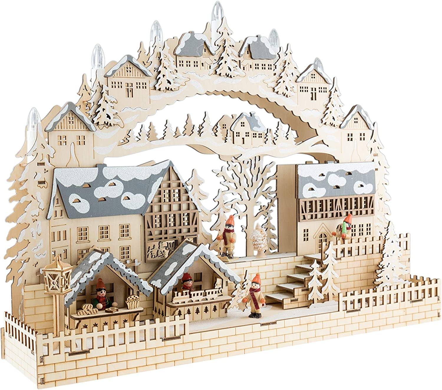 Clever Creations Traditional LED Wooden Christmas Village | Light Up Winter Snow and Christmas Tree | Solid Wood Construction | Festive Holiday Decoration | Battery Operated