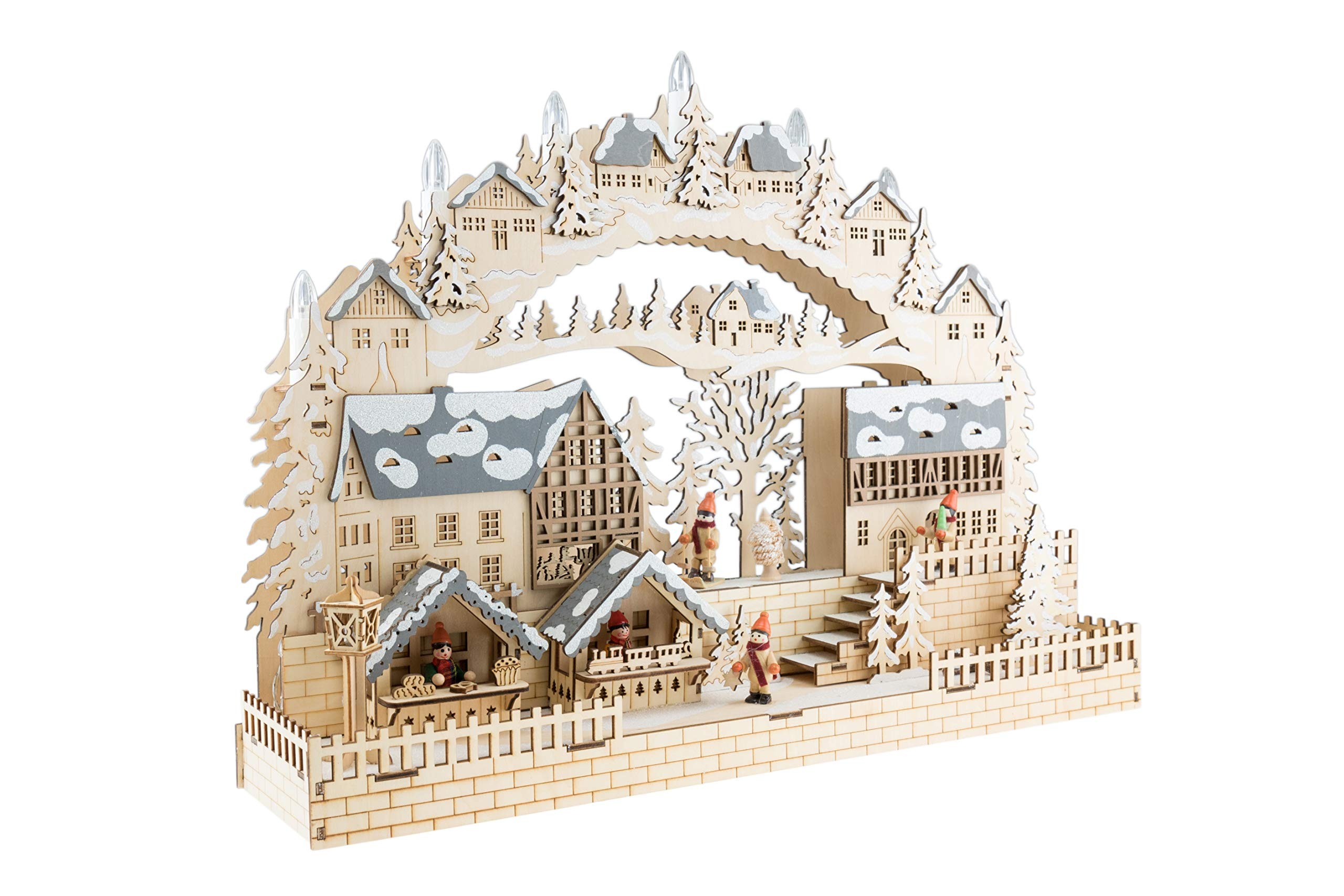 Clever Creations Traditional Wooden Village Christmas Decoration | Festive Christmas Village with Battery Operated LED Christmas Lights | Detailed Wooden Decoration with Winter Snow and Christmas Tree